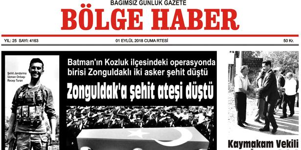 01 EYLÜL CUMARTESİ 2018 BÖLGE HABER GAZETESİ... SABAH BAYİLERDE....