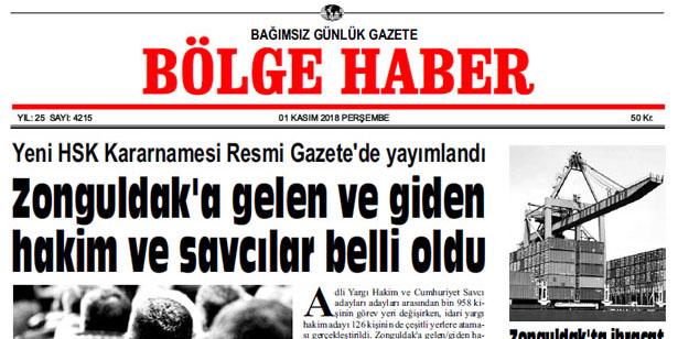 01 KASIM PERŞEMBE 2018 BÖLGE HABER GAZETESİ... SABAH BAYİLERDE....