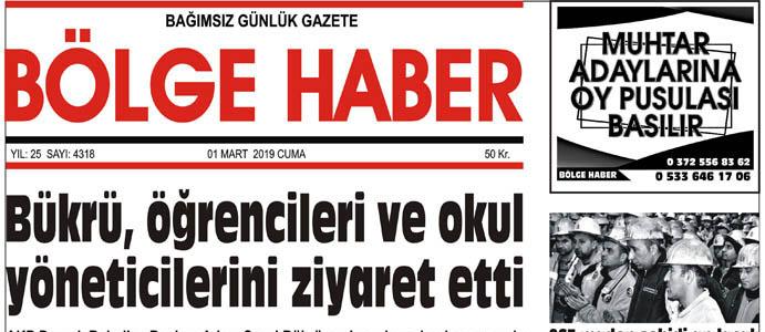 01/03/2019 TARİHLİ BÖLGE HABER GAZETESİ... SABAH BAYİLERDE...