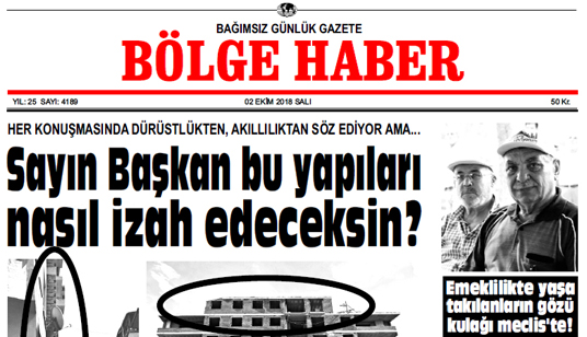 02 EKİM SALI 2018 BÖLGE HABER GAZETESİ... SABAH BAYİLERDE....