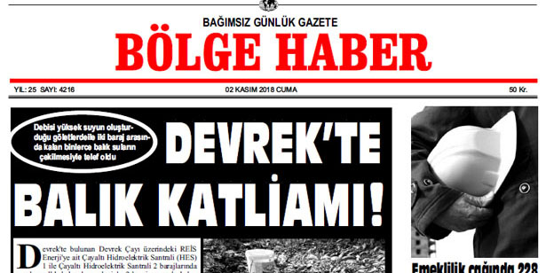 02 KASIM 2018 BÖLGE HABER GAZETESİ... SABAH BAYİLERDE....