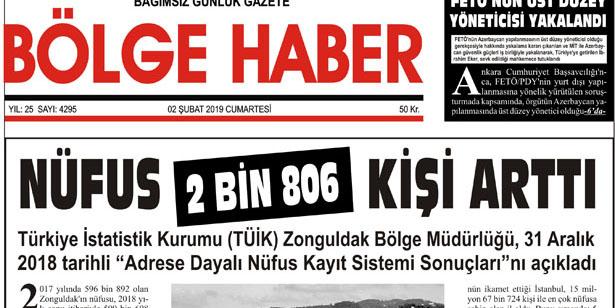 02/02/2019 TARİHLİ BÖLGE HABER GAZETESİ... SABAH BAYİLERDE...