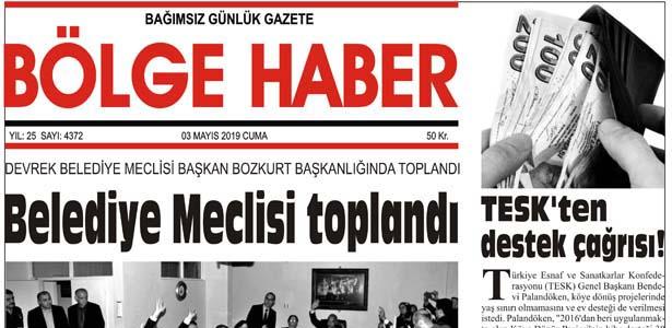 03/05/2019 TARİHLİ BÖLGE HABER GAZETESİ... SABAH BAYİLERDE...
