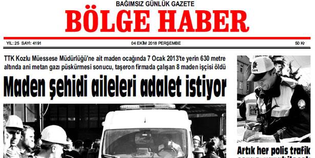 04 EKİM PERŞEMBE 2018 BÖLGE HABER GAZETESİ... SABAH BAYİLERDE....