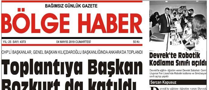 04/05/2019 TARİHLİ BÖLGE HABER GAZETESİ... SABAH BAYİLERDE...