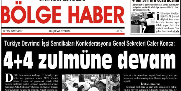 05/02/2019 TARİHLİ BÖLGE HABER GAZETESİ... SABAH BAYİLERDE...