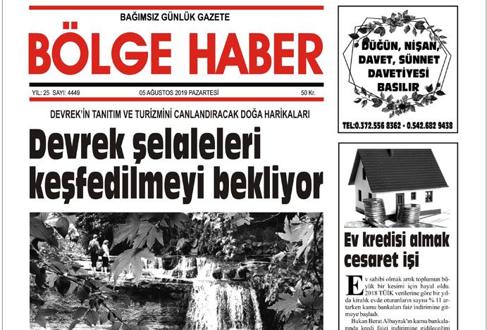 05/08/2019 TARİHLİ BÖLGE HABER GAZETESİ... SABAH BAYİLERDE...