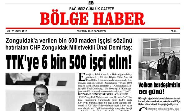 05/11/2018 TARİHLİ BÖLGE HABER GAZETESİ... SABAH BAYİLERDE...