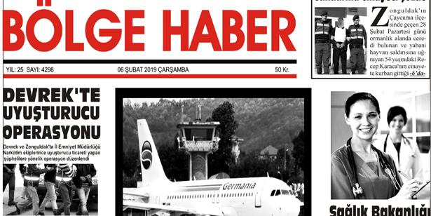 06/02/2019 TARİHLİ BÖLGE HABER GAZETESİ... SABAH BAYİLERDE...