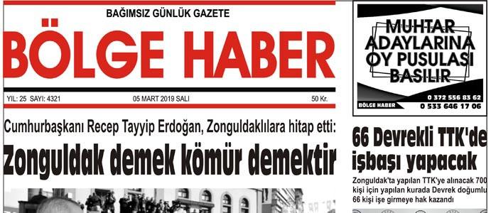 06/03/2019 TARİHLİ BÖLGE HABER GAZETESİ... SABAH BAYİLERDE...
