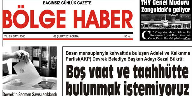 08/02/2019 TARİHLİ BÖLGE HABER GAZETESİ... SABAH BAYİLERDE...