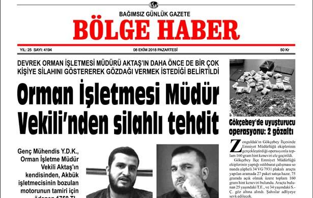 08/10/2018 TARİHLİ BÖLGE HABER GAZETESİ SABAH BAYİLERDE...