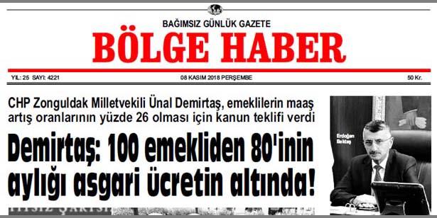 08/11/2018 TARİHLİ BÖLGE HABER GAZETESİ... SABAH BAYİLERDE...
