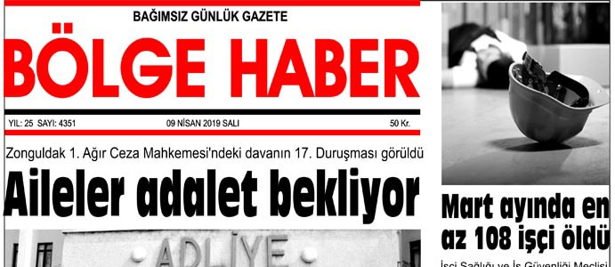 09/04/2019 TARİHLİ BÖLGE HABER GAZETESİ... SABAH BAYİLERDE...
