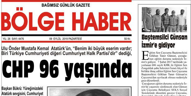 09/09/2019 TARİHLİ BÖLGE HABER GAZETESİ... SABAH BAYİLERDE...