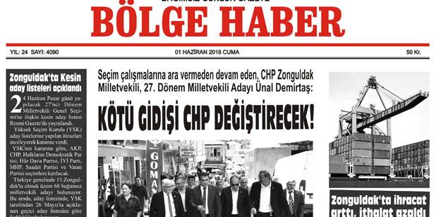 1 HAZİRAN CUMA 2018 BÖLGE HABER GAZETESİ... SABAH BAYİLERDE...