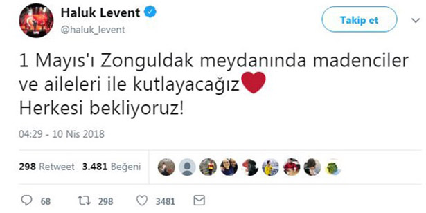 1 MAYIS'TA HALUK LEVENT ZONGULDAK'TA
