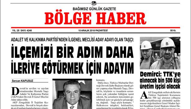 10/12/2018 BÖLGE HABER GAZETESİ... SABAH BAYİLERDE...