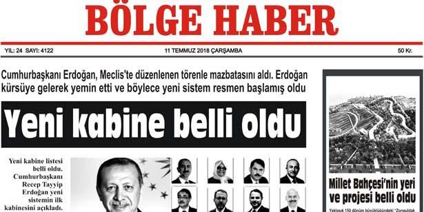 11 TEMMUZ ÇARŞAMBA 2018 BÖLGE HABER GAZETESİ... SABAH BAYİLERDE....