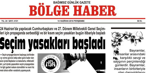 14 HAZİRAN PERŞEMBE 2018 BÖLGE HABER GAZETESİ... SABAH BAYİLERDE....