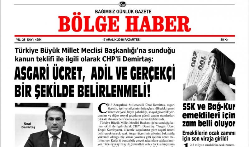 17/12/2018 TARİHLİ BÖLGE HABER GAZETESİ... SABAH BAYİLERDE...
