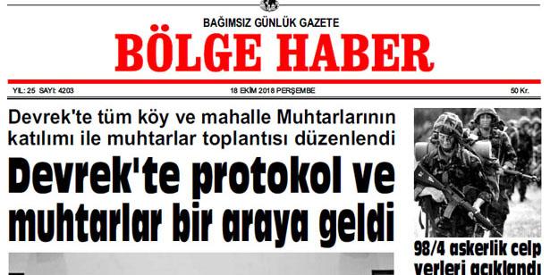 18 EKİM PERŞEMBE 2018 BÖLGE HABER GAZETESİ... SABAH BAYİLERDE....