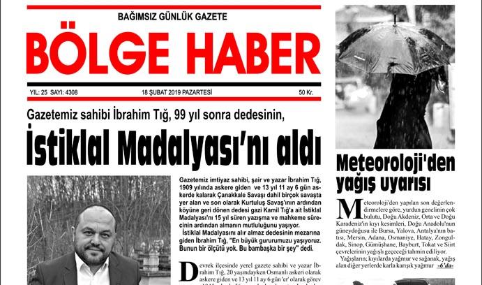 18/02/2019 TARİHLİ BÖLGE HABER GAZETESİ... SABAH BAYİLERDE...