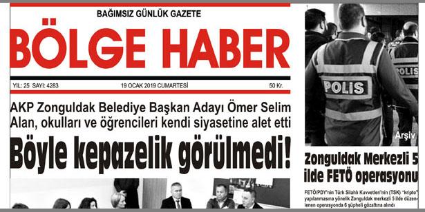19/01/2019 TARİHLİ BÖLGE HABER GAZETESİ... SABAH BAYİLERDE...