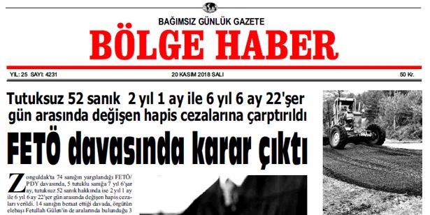 20 KASIM SALI 2018 BÖLGE HABER GAZETESİ... SABAH BAYİLERDE....