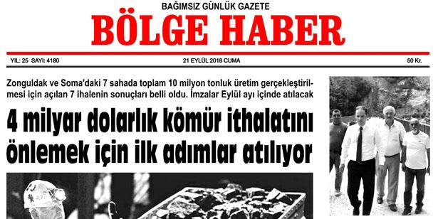 21 EYLÜL CUMA 2018 BÖLGE HABER GAZETESİ... SABAH BAYİLERDE....