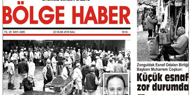 22/01/2019 TARİHLİ BÖLGE HABER GAZETESİ... SABAH BAYİLERDE...