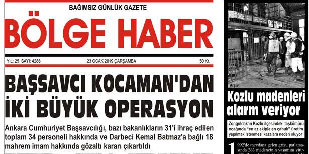 23/01/2019 TARİHLİ BÖLGE HABER GAZETESİ... SABAH BAYİLERDE...