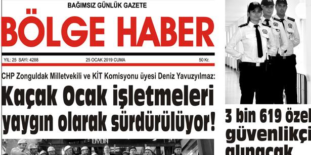 25/01/2019 TARİHLİ BÖLGE HABER GAZETESİ... SABAH BAYİLERDE...