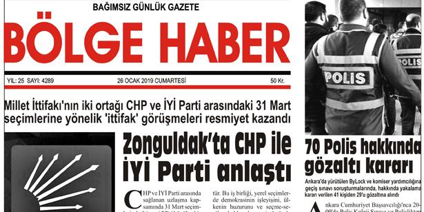26/01/2019 TARİHLİ BÖLGE HABER GAZETESİ... SABAH BAYİLERDE...