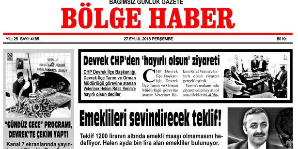 27 EYLÜL PERŞEMBE 2018 BÖLGE HABER GAZETESİ... SABAH BAYİLERDE....
