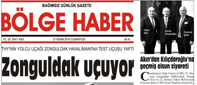 27/04/2019 TARİHLİ BÖLGE HABER GAZETESİ... SABAH BAYİLERDE...