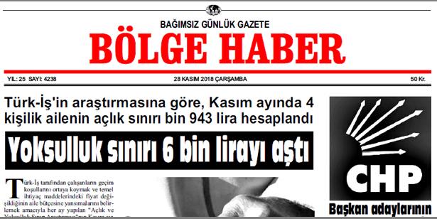 28 KASIM ÇARŞAMBA 2018 BÖLGE HABER GAZETESİ... SABAH BAYİLERDE....