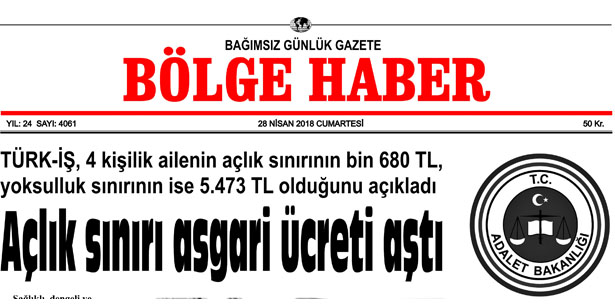 28 NİSAN 2018 BÖLGE HABER GAZETESİ SABAH BAYİLERDE..