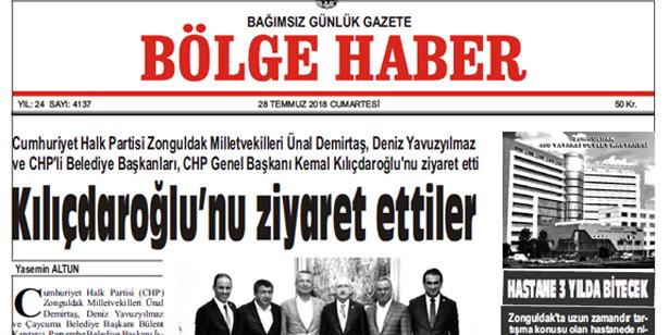 28 TEMMUZ CUMARTESİ 2018 BÖLGE HABER GAZETESİ... SABAH BAYİLERDE....