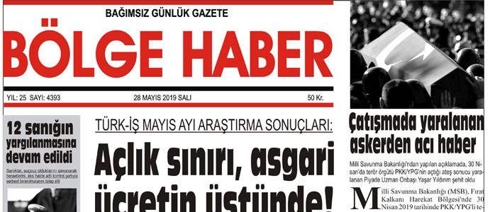 28/04/2019 TARİHLİ BÖLGE HABER GAZETESİ... SABAH BAYİLERDE...