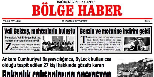 29 KASIM PERŞEMBE 2018 BÖLGE HABER GAZETESİ... SABAH BAYİLERDE....