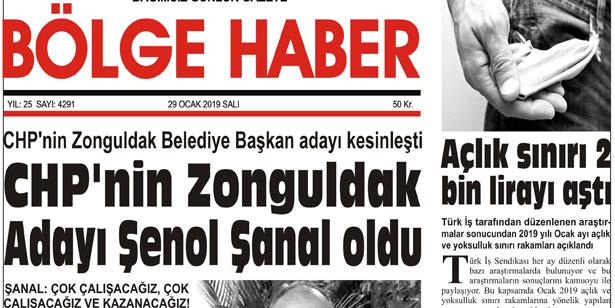 29/01/2019 TARİHLİ BÖLGE HABER GAZETESİ... SABAH BAYİLERDE...