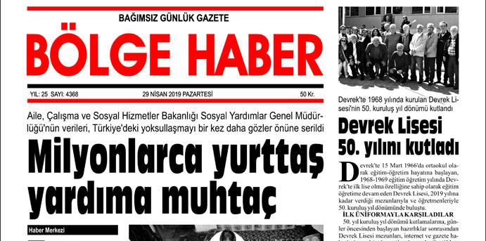 29/04/2019 TARİHLİ BÖLGE HABER GAZETESİ... SABAH BAYİLERDE...