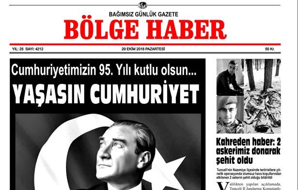 29/10/2018 TARİHLİ BÖLGE HABER GAZETESİ SABAH BAYİLERDE...