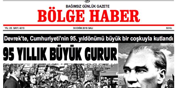 30 EKİM SALI 2018 BÖLGE HABER GAZETESİ... SABAH BAYİLERDE....