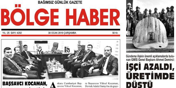 30/01/2019 TARİHLİ BÖLGE HABER GAZETESİ... SABAH BAYİLERDE...