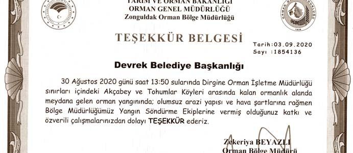 DEVREK BELEDİYESİ'NE TEŞEKKÜR