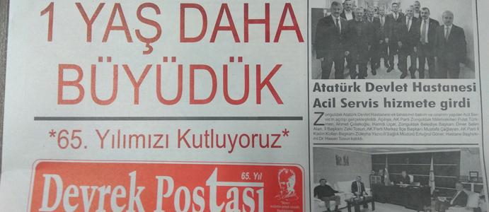 DEVREK POSTASI GAZETESİ 65 YAŞINDA
