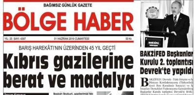 01/06/2019 TARİHLİ BÖLGE HABER GAZETESİ... SABAH BAYİLERDE...