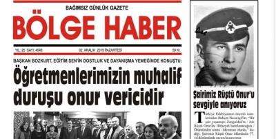 02/12/2019 TARİHLİ BÖLGE HABER GAZETESİ... SABAH BAYİLERDE...